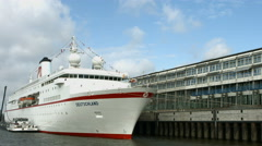 Hamburg old overseas pier with MS Deutschland Stock Footage