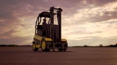 Forklift. Cargo Machine Storage Industry Loader Stock Footage