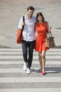 Stock Photo of Couple on a crosswalk, Paris, Ile-de-France, France