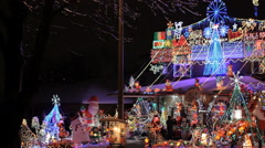 Beautiful Decorated Christmas House in Toronto - stock footage