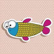 illustration of icons of fish, aquatic animals, vector illustration - stock illustration