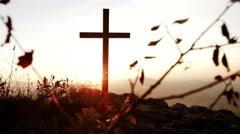 Religious symbol background. catholic christian cross. gods love Stock Footage