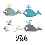 Illustration of icons of fish, aquatic animals, vector illustration Stock Illustration