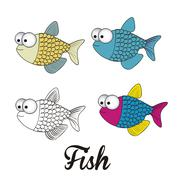 illustration of icons of fish, aquatic animals, vector illustration - stock illustration