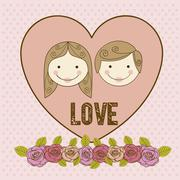 illustration of couple in love, dating, vector illustration - stock illustration