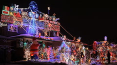 Beautiful Decorated Christmas House in Toronto Stock Footage