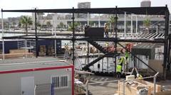 Volvo Ocean Race harbour front being built Stock Footage