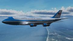 Airplane Boing Air Force One in fly - close up - 4k - stock footage