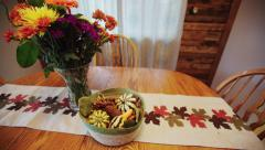 Thanksgiving table wide angle Stock Footage