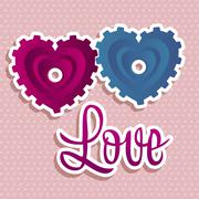 illustration of love and friendship, gear hearts, vector illustration - stock illustration