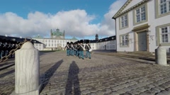 Change of guard by the Royal Danish Lifeguards at the Fredensborg Palace Stock Footage
