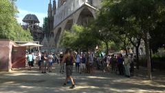 Barcelona soap bubble fun Sagrada Familia church 4K 020 - stock footage