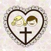 religious illustration, cross of our lord jesus christ with marriage, vector - stock illustration