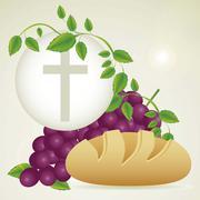 Illustration of jesus christ, eucharist and the sacrament of communion, vector Stock Illustration