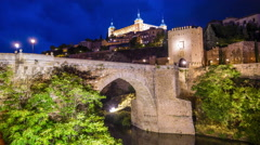 Toledo, Spain on the Tagus River Stock Footage