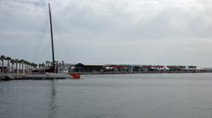 Volvo Ocean Race boat docked in harbour Stock Footage