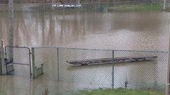 Flooding in the town of Ayr Ontario after rain storm Stock Footage