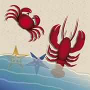 illustration of beach. arena, summer vacation on the beach, vector illustration - stock illustration