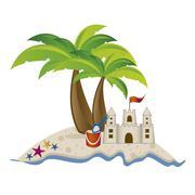 Illustration of beach. arena, summer vacation on the beach, vector illustration Stock Illustration