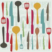 illustration of kitchen elements. illustration of spoons, knives, forks, and - stock illustration