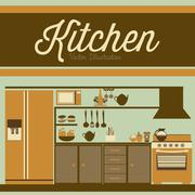 Illustration kitchen with appliances, food and drawers. vector illustration Stock Illustration