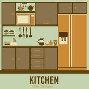 illustration kitchen with appliances, food and drawers. vector illustration - stock illustration