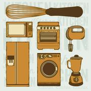 Illustration of kitchen appliances. illustration of a microwave, a large fridge, Stock Illustration