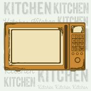 illustration of kitchen appliances. illustration of a microwave. vector - stock illustration