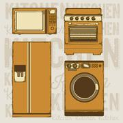 Stock Illustration of illustration of kitchen appliances. illustration of a microwave, a large fridge,
