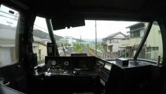 4k video of the driver's cabin at the back of a train Stock Footage