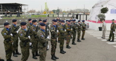 Eurocorps troops preparing for official visit Stock Footage