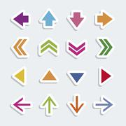 illustration of arrow icons, in differents shapes and colors, vector - stock illustration