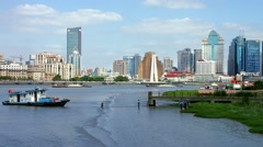 Fisherman's boat on Huangpu River in Shanghai, China, BlackMagic 4K Camera Stock Footage