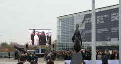 Pope Francis arrival in Strasbourg Stock Footage