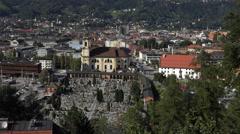 Innsbruck Austria urban city center church from above 4K 043 Stock Footage