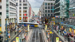 Berlin, germany shopping street Stock Footage
