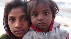 Street Children in Pushkar, Rajasthan, India - stock footage
