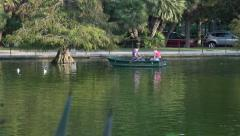 Barcelona Spain couple lovers boat Parc de la Ciutadella lake 4K 077 Stock Footage
