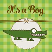 Stock Illustration of illustration of baby shower invitation, tender with a crocodile. vector