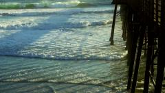 Pier Hammered by Waves in Oceanside California Stock Footage