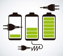 Illustration of energy icons, electricity and electric current, vector Stock Illustration