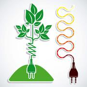 illustration of energy icons, electricity and electric current, vector - stock illustration