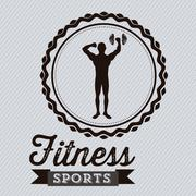 Illustration of fitness icons, sports and exercise, caring figure and health, Stock Illustration