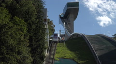Innsbruck Austria winter Olympic 1976 ski jump tower tram 4K 045 Stock Footage