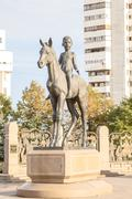 Sculpture in the monument of independence of kazakhstan. almaty, kazakhstan Stock Photos