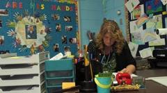 Teacher grading Stock Footage