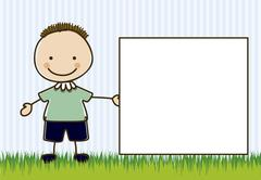 illustration of boy, in cartoon style and sketch, vector illustration - stock illustration