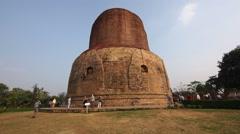 Visitors at the Dhamekh Stupa in Sarnath, Uttar Pradesh, India Stock Footage