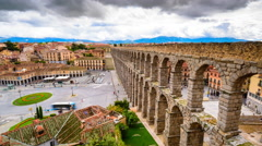 Segovia, Spain at the Roman Aqueduct and Azoguejo Square Stock Footage