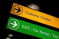 customs control sign. - stock photo